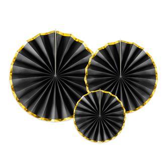 Dekorationsrosetter svart/guld, 3-pack