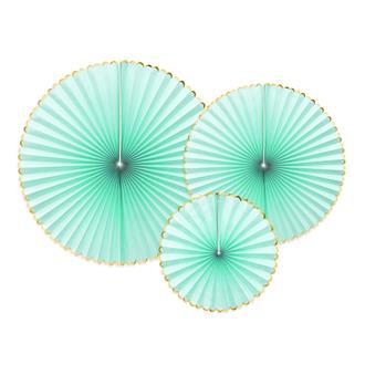 Dekorationsrosetter mintgrön/guld, 3-pack