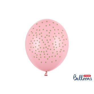 Ballong rosa med guld prickar-6 st