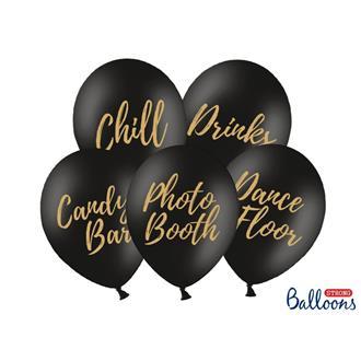 Ballonger mixade svarta, 5-pack