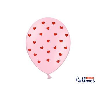 Ballonger rosa med röd hjärta, 6-pack
