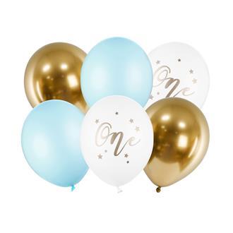 Ballonger 1 år vit/guld/blå, 6-pack