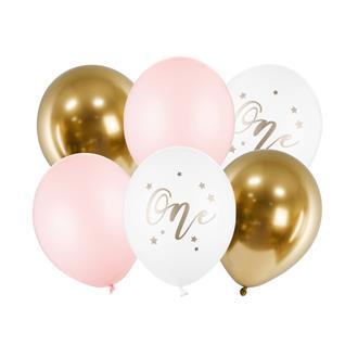 Ballonger 1 år vit/guld/rosa, 6-pack