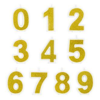Tårtljus siffra Guld 0 - 9