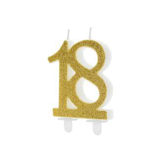 Tårtljus siffra 18 guld
