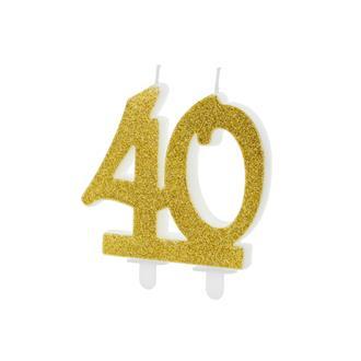 Tårtljus siffra 40 guld