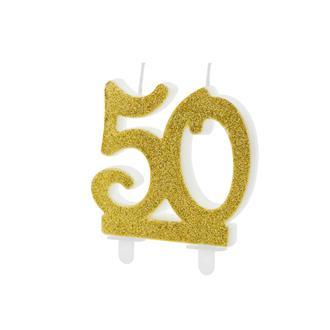 Tårtljus siffra 50 guld