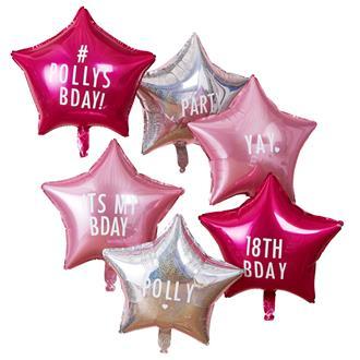 Ballongbukett stjärna rosa & holografisk silver egen text, 6-pack
