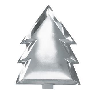 Engångstallrik julgran silver, 6-pack
