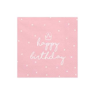 Servetter happy birthday rosa, 20-pack