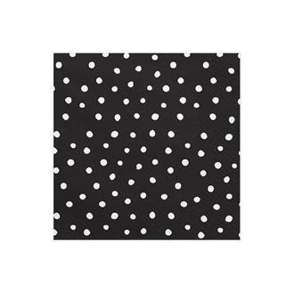 Servetter svart/vita prickar, 20-pack