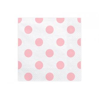 Servetter med rosa prickar, 20-pack