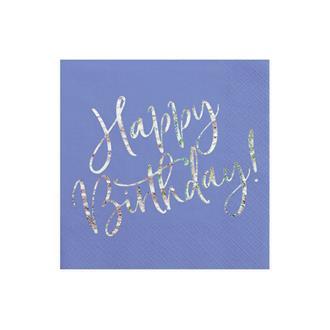 """Servetter """"Happy Birthday"""" blå/holografisk silver, 20-pack"""
