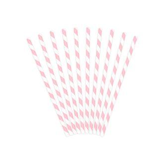Sugrör rosa Randiga, 10-pack