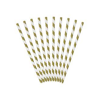 Sugrör guld/vit, 10-pack