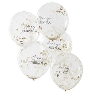 """Konfettiballonger """"Merry Christmans"""" guld, 5-pack"""