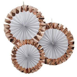 Dekorationsrosetter Rosé/vit, 3-pack