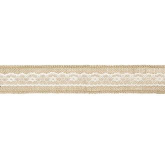 Juteband med vit spets