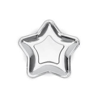 Assiett Stjärna Silver 18 cm, 6-pack
