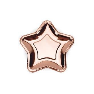 Assietter stjärna roséguld 18 cm, 6-pack
