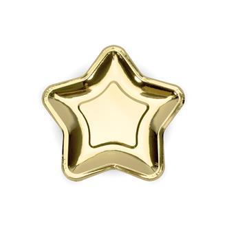 Tallrik stjärna guld, 6-pack