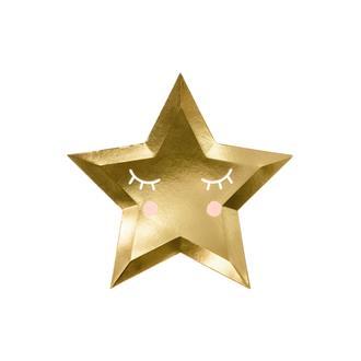 Engångstallrik Stjärna guld, 6-pack