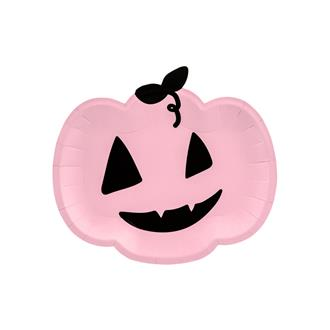 Halloween tallrikar rosa pumpa, 6-pack