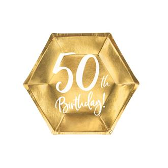 Engångsassietter 50 år Guld 20 cm, 6-pack
