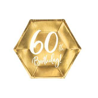 Engångsassiett 60 år Guld 20 cm, 6-pack
