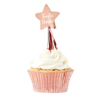Cupcake toppers Babyshower rosé, 12-pack