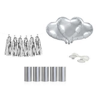 Bildekoration Kit Silver, Hjärtan