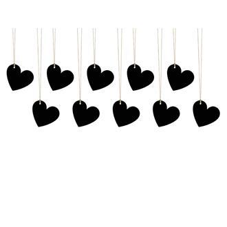 Svarta taggar/placeringskort hjärta, 10-pack