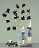 Fjäder blomma svart 12-pack