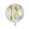Folieballong 18 år guld/vit