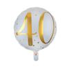 Folieballong 40 år guld/vit