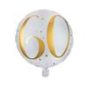 Folieballong 60 år guld/vit
