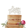 """Tårtdekoration """"Happy Birthday"""" i trä"""