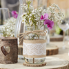 Glasvas med jute- och spetsband rustik/natur