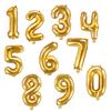 Sifferballong Guld 35 cm, Siffrorna 0-9