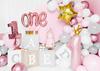 Folieballong 1 år med krona, rosa/guld