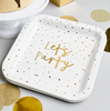 Tallrik Lets party guld, 10-pack