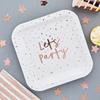 Tallrik Lets party roséguld, 10-pack
