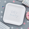 Tallrik Lets party silver, 10-pack
