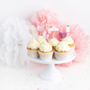 Cupcake toppers rosa baby, 6st