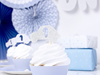 Cupcake toppers Bil silver, 6 st.