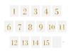 Bordsnummer 1-15 klistermärken till flaskor