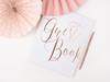 Gästbok vit med roséguld text