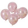 Konfettiballonger rosa/lila/gul, 5-pack