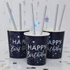 """Pappersmuggar """"Happy Birthday"""" blå och holigrafisk silver, 8-pack"""