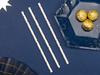 Sugrör Vit/Guld Stjärnor, 10-pack